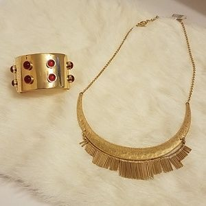 Gold-tone Statement Necklace and Cuff Bracelet Set